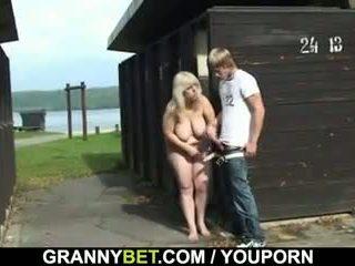 Blonde granny rides my cock hard