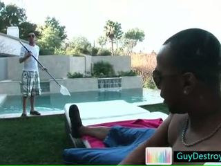 Dude undressing at the pool