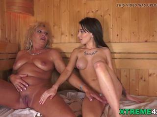 Lesbian Moments in the Sauna, Free Grandpas Fuck Teens HD Porn
