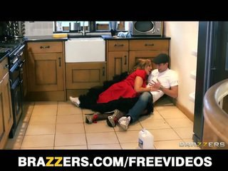 Busty british nanny does the plumber