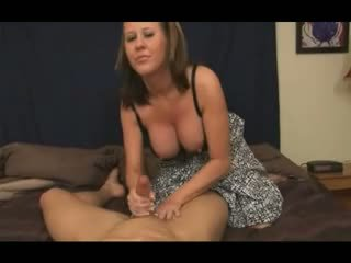 Mom give son's friend a Handjob Video