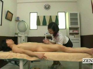 Subtitled oděná žena nahý mužské japonská masáž s smyslný honění