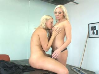 Smoking Hot Cleaner Babes Fuck in an Office During Work