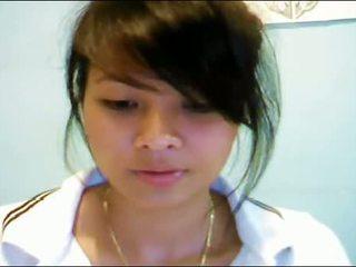 Asiatisch teen auf webkamera