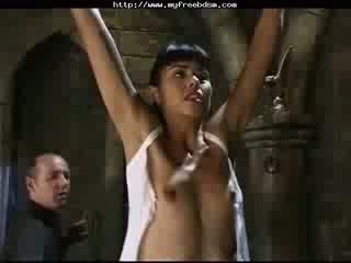 Dana Vespoli Hung By Wrists, Whipped bdsm bondage slave Fem Dom Mistress
