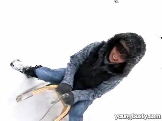 Cute oustanding boobs nang the snow