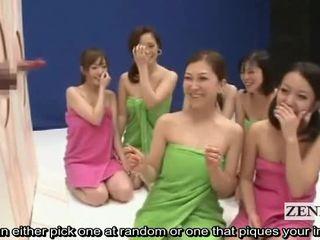 Subtitled wanita berbusana pria telanjang gila jepang kemaluan laki-laki guessing permainan menunjukkan