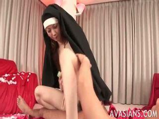Dirty hairy nun in dirty play