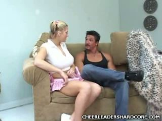 Breasty Cheerleader Faye Gangbanged