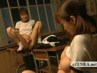 Subtitled lezbo jap mô hình lớp phòng bondage