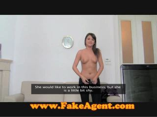 FakeAgent Cocoa Haired Near Braces Attempts Oral Fuck
