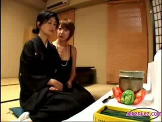 2 Mature Widows Kissing Rubbing Melons One Of Them Getting Her Nipples Sucked On The Bed