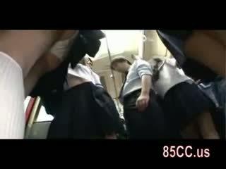 มีอารมณ์ เด็กนักเรียนหญิง ยั่ว ออฟฟิศ workers บน รถบัส