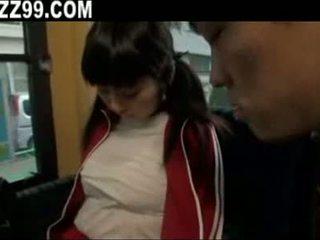 Busty girl on bus 03