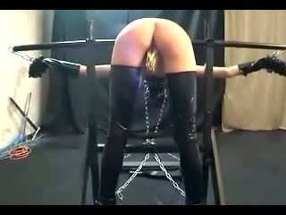 Girl Bending On Pole Tortured With Clips Whipped By Master