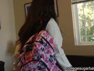 brunette, coed, college meisje