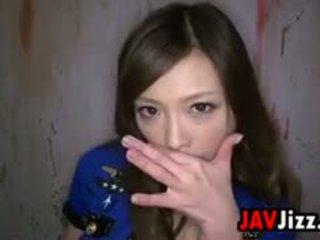 Seksi warga asia penjara guard swallows air mani