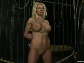 Busty MILF gets bondaged and fucked