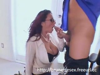 Watch Ava Lauren a very busty milf give a great blowjob then fuck till she sucks his cum
