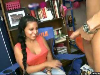 Horny college girls suck stripper dick