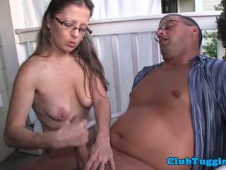 Spex Amateur MILF Giving Handjob on the Porch: Free Porn 8b