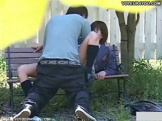 Horny japanese couple sex in park.