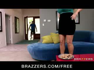 Horny big-tit blonde MILF Karen Fisher in lingerie fucks big-dick