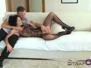 StrapOn Mature women taking DP with a vibrating cockring