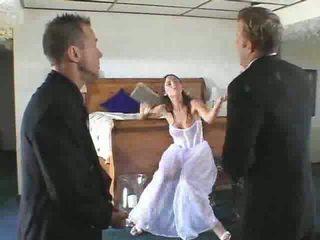 pengantin, kelompok tiga orang, panas