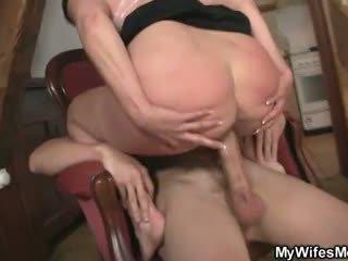 Horny old mom fucks daughter's boyfrie...