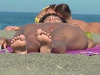 brunette, voyeur, beach