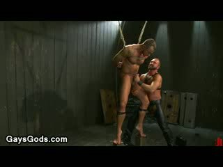 Tied up muscle gay endures electricity and hard Booty flogger