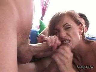 brunette, double penetration