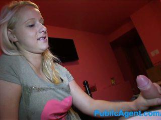 PublicAgent Cute blonde sucks and fucks in bedroom