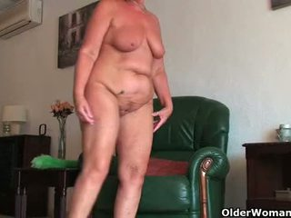 British and full figured grandma Sandie gives old pussy a workout