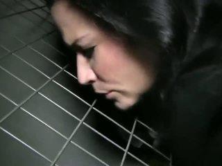 Brunette gets fucked in basement of train station