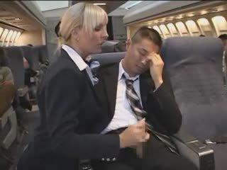 Hot Handjob from sexy Stewardess