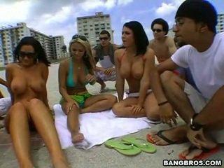 group sex, beach, beautiful tits