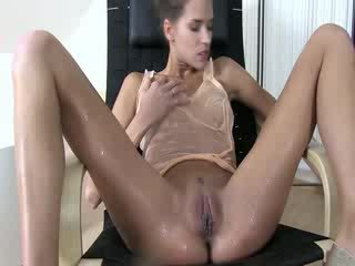 Pissing loving babe quenching her thirst