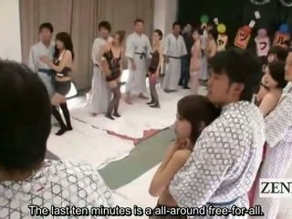 Subtitled lingerie clad japonais av étoiles shuffle orgie