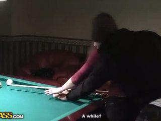 Horny Waitress At Billiards Gets Naked And Blowjob