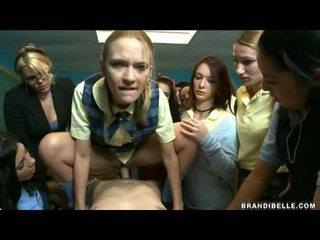 Brandi belle in dekleta entice unbending wang fukanje in sesanje mu off