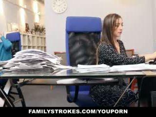 brunetka, seks, biuro