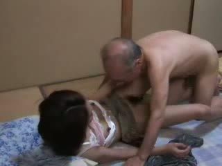 giapponese, figlia, nonno