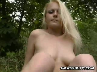 Blond amateur GF outdoor suck and fuck with facial