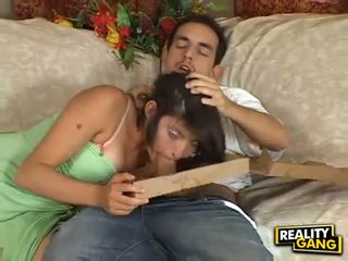 Cock hungry Adrianna Faust feeds her mouth with a juice hard meatpole