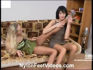 Rosaline dhe sophia i kuq sexy çorape najloni footsex