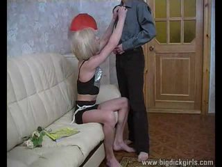 Randy guy drills blonde crossdresser