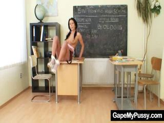 Ponytails School Pussy Kinky Muff Yawning And Fingering
