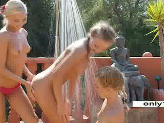 Outdoor Lesbian trio 3 blonde teens Vi...